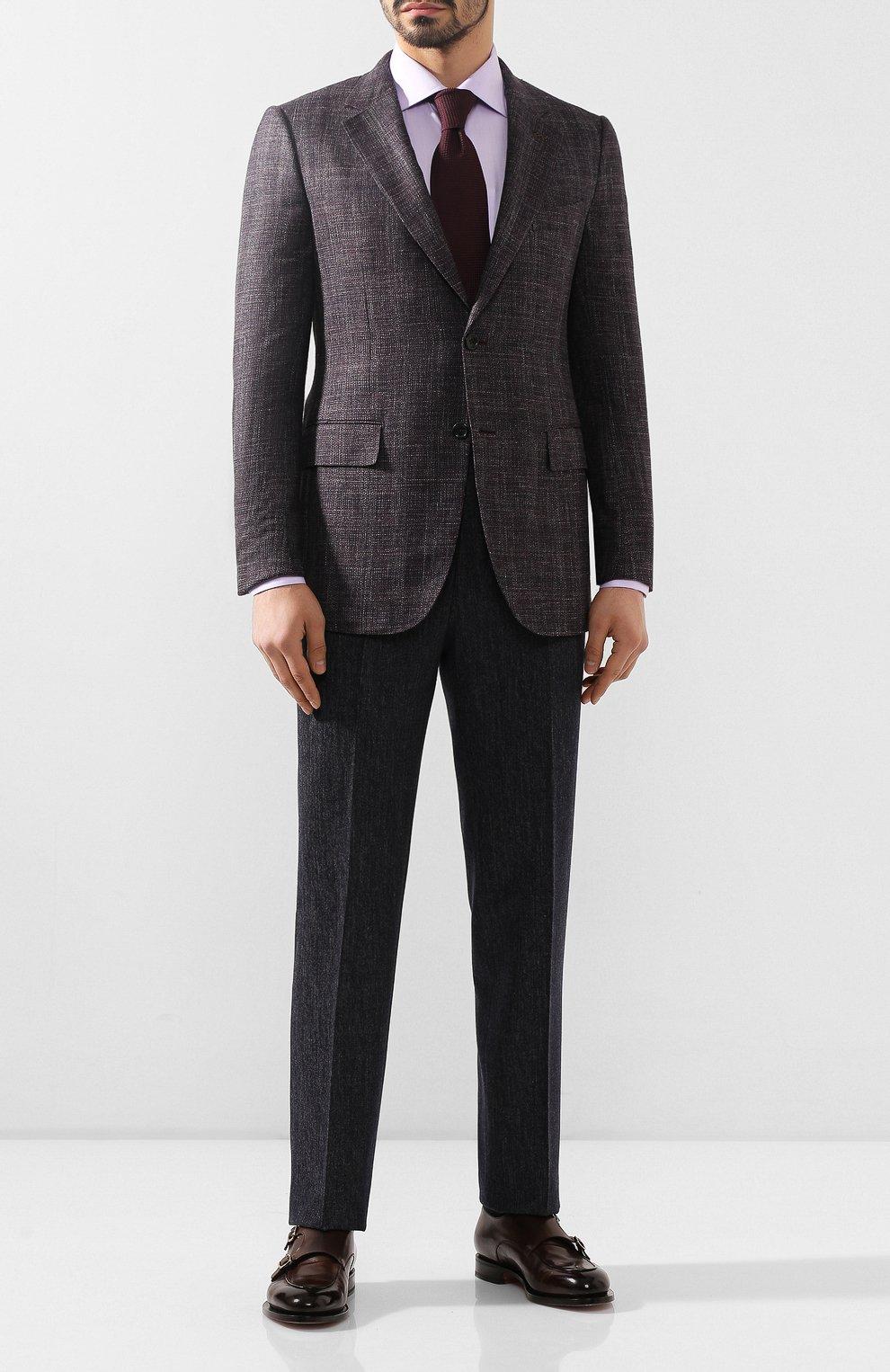 Мужской пиджак из смеси шерсти и шелка ZEGNA COUTURE фиолетового цвета, арт. 750N09/10C2N0   Фото 2