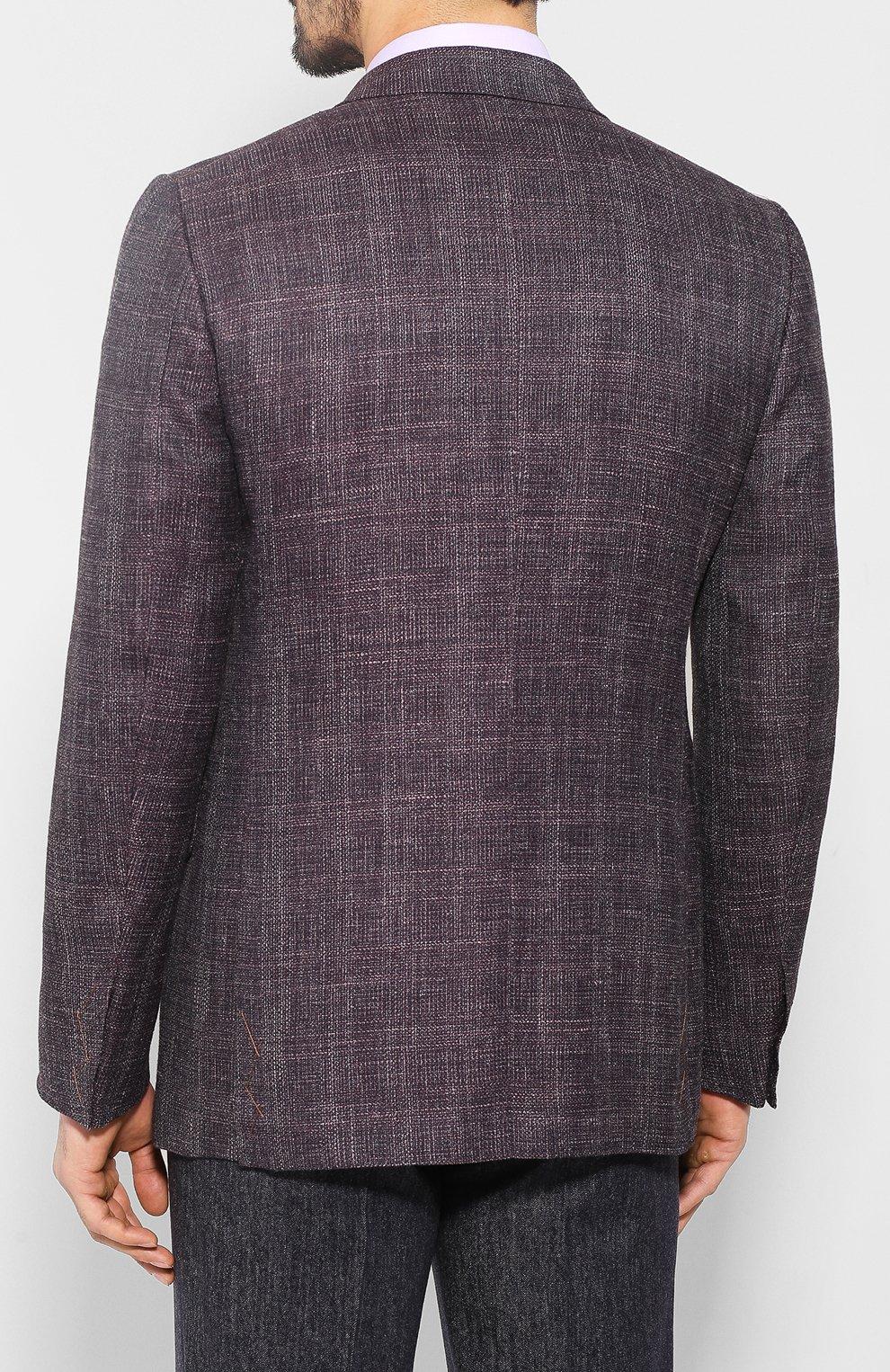 Мужской пиджак из смеси шерсти и шелка ZEGNA COUTURE фиолетового цвета, арт. 750N09/10C2N0   Фото 4