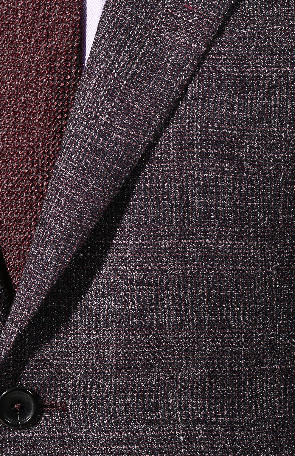 Мужской пиджак из смеси шерсти и шелка ZEGNA COUTURE фиолетового цвета, арт. 750N09/10C2N0   Фото 5