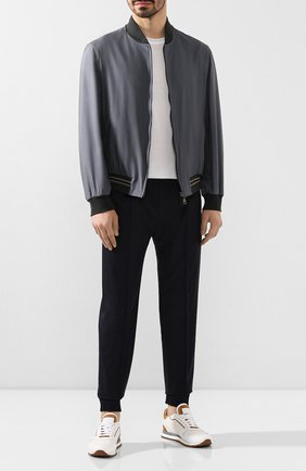 Мужской шерстяные брюки BERLUTI темно-синего цвета, арт. R17TCU60-002 | Фото 2