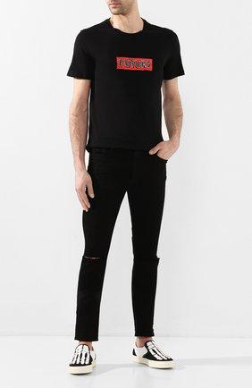 Мужская хлопковая футболка NEIL BARRETT черного цвета, арт. PBJT702S/N542S | Фото 2