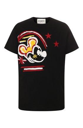 Мужская хлопковая футболка ICEBERG черного цвета, арт. 20E I1P0/F062/6301   Фото 1
