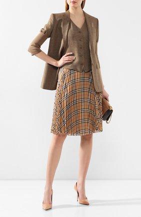 Женский жилет из смеси шерсти и вискозы BURBERRY коричневого цвета, арт. 8024810 | Фото 2