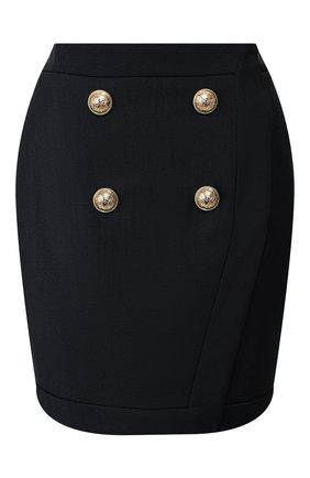 Женская юбка из смеси вискозы и шерсти BALMAIN черного цвета, арт. TF14046/V093 | Фото 1