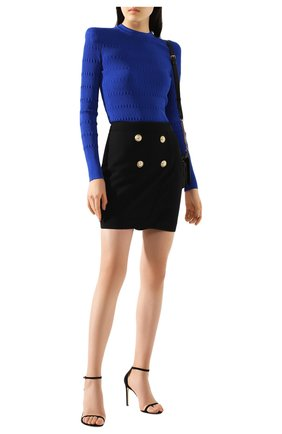 Женская юбка из смеси вискозы и шерсти BALMAIN черного цвета, арт. TF14046/V093 | Фото 2