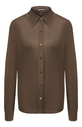 Женская шелковая рубашка TOM FORD хаки цвета, арт. CAJ010-FAX025 | Фото 1