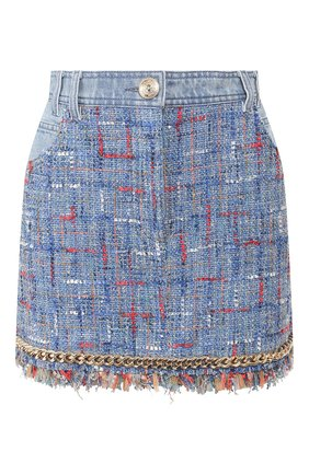 Женская юбка BALMAIN голубого цвета, арт. TF14016/D017   Фото 1