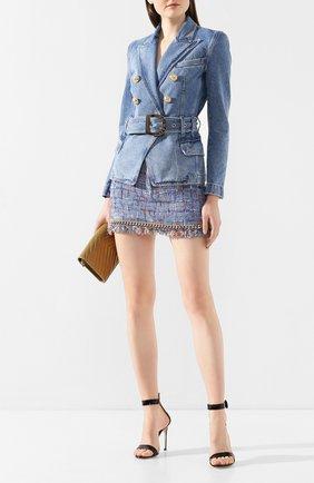 Женская юбка BALMAIN голубого цвета, арт. TF14016/D017 | Фото 2