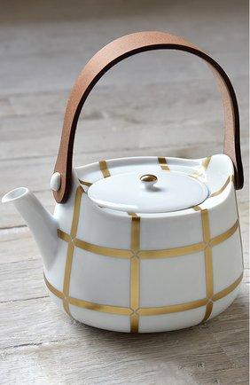Мужского чайник с кожаной ручкой mailla BERNARDAUD золотого цвета, арт. 1843/22163 | Фото 2