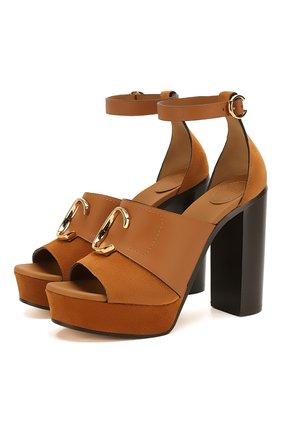 Женские замшевые босоножки CHLOÉ светло-коричневого цвета, арт. CHC19A21691 | Фото 1