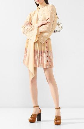 Женские замшевые босоножки CHLOÉ светло-коричневого цвета, арт. CHC19A21691 | Фото 2