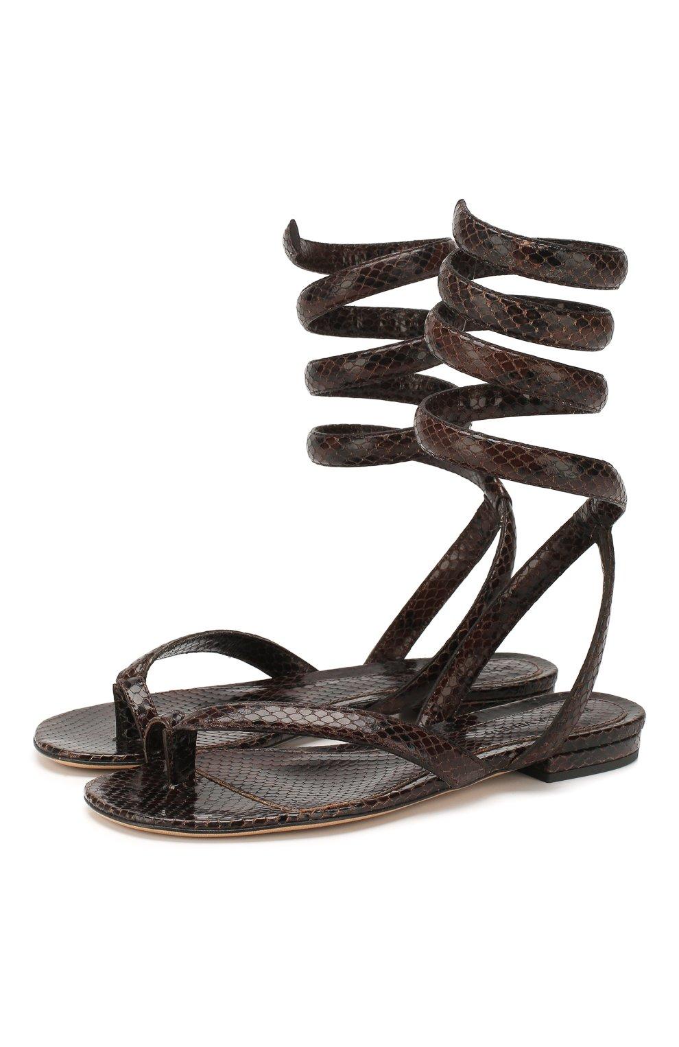 Женские кожаные сандалии BOTTEGA VENETA коричневого цвета, арт. 608864/VF3Q0   Фото 1