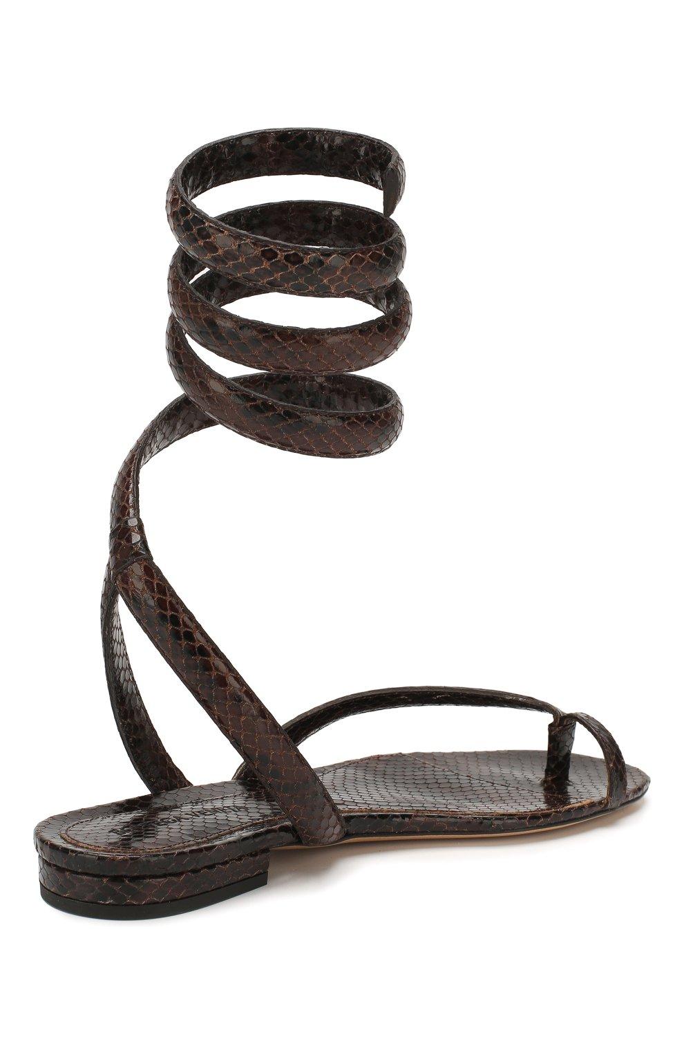 Женские кожаные сандалии BOTTEGA VENETA коричневого цвета, арт. 608864/VF3Q0   Фото 4