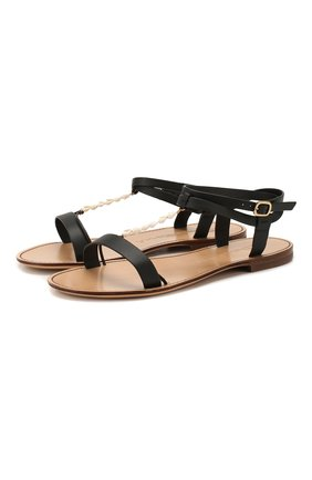 Женские кожаные сандалии SANTONI черного цвета, арт. WHRS58541HI1TNC0N01 | Фото 1