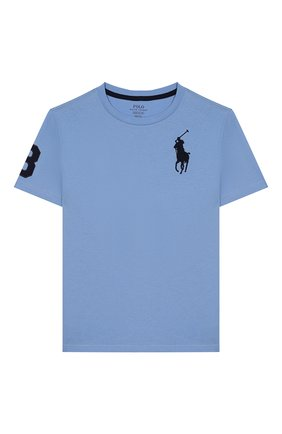 Детская хлопковая футболка POLO RALPH LAUREN голубого цвета, арт. 323770177 | Фото 1