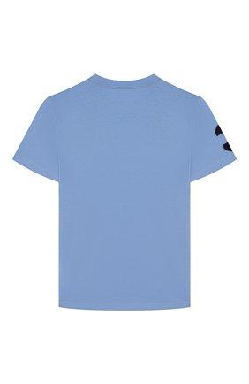 Детская хлопковая футболка POLO RALPH LAUREN голубого цвета, арт. 323770177 | Фото 2