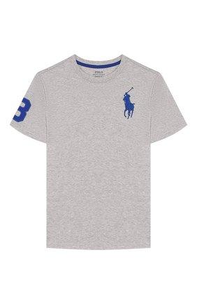 Детская хлопковая футболка POLO RALPH LAUREN серого цвета, арт. 323770177 | Фото 1
