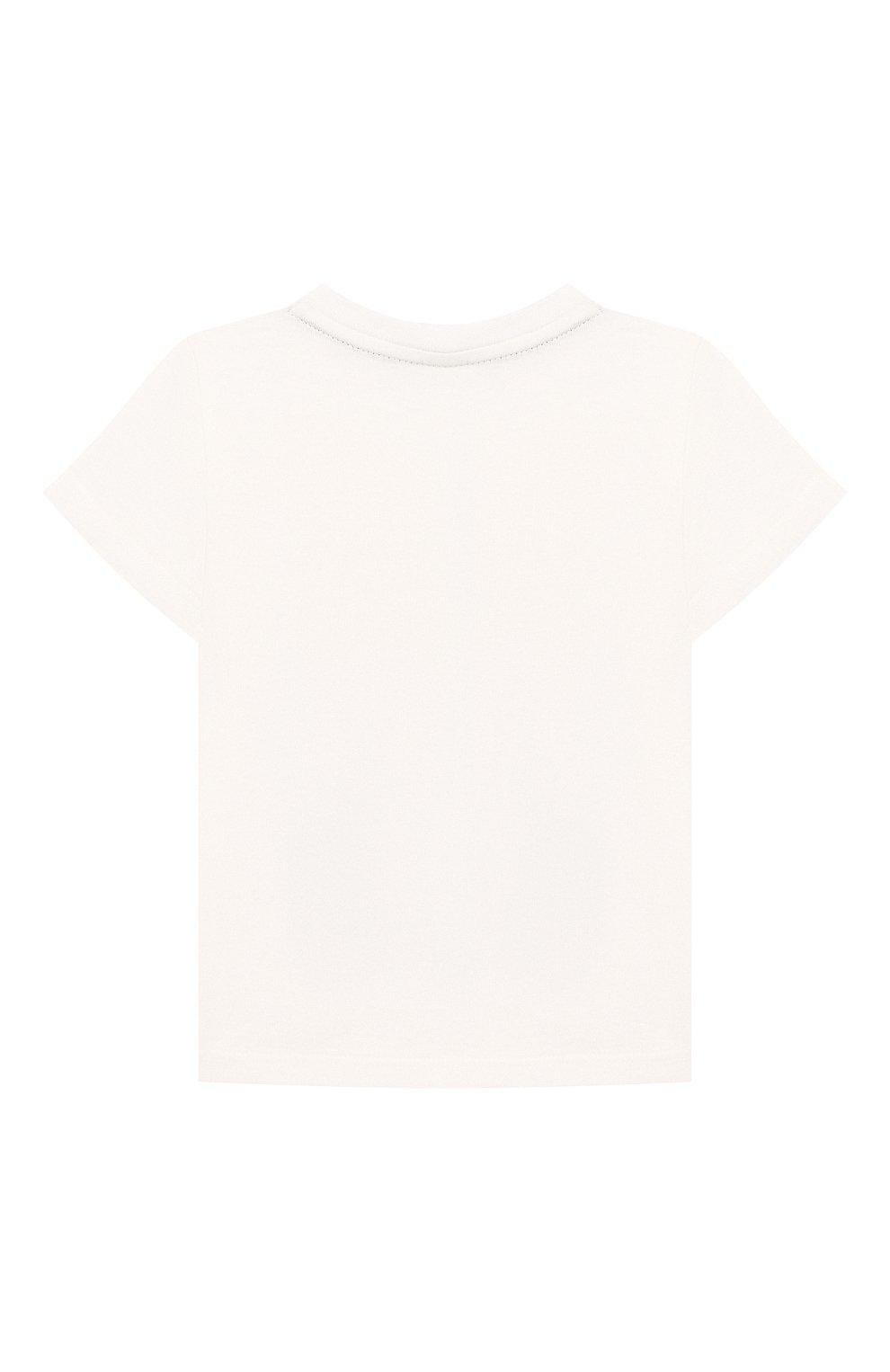 Детский хлопковая футболка FENDI белого цвета, арт. BMI201/7AJ/3M-9M | Фото 2