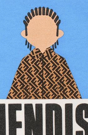 Детский хлопковая футболка FENDI белого цвета, арт. BMI201/7AJ/3M-9M | Фото 3