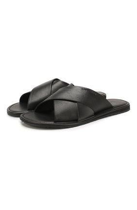 Мужские кожаные шлепанцы MORESCHI черного цвета, арт. 93BARBUDA | Фото 1
