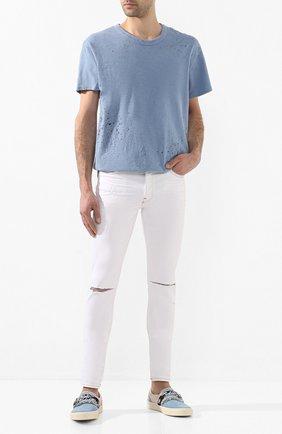 Мужские замшевые слипоны AMIRI голубого цвета, арт. Y0F23273SU | Фото 2