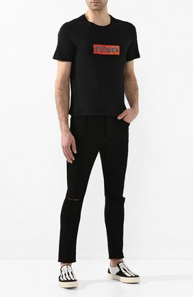 Мужские текстильные слипоны AMIRI черно-белого цвета, арт. Y0F23271CL | Фото 2