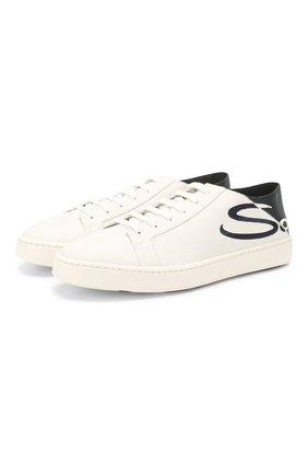 Мужские кожаные кеды SANTONI белого цвета, арт. MBCN21306BARXBMII60 | Фото 1