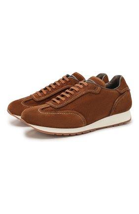 Мужские замшевые кроссовки BRIONI светло-коричневого цвета, арт. QHH80L/P9709 | Фото 1