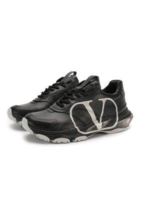 Мужские кожаные кроссовки valentino garavani bounce vlogo VALENTINO черного цвета, арт. TY2S0B05/DDS | Фото 1