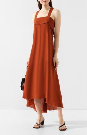 Женское шелковое платье ISABEL BENENATO оранжевого цвета, арт. DW86S20 | Фото 2