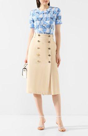 Женская хлопковая юбка ESCADA кремвого цвета, арт. 5033793 | Фото 2