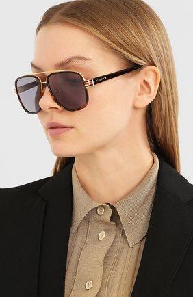 Мужские солнцезащитные очки GUCCI коричневого цвета, арт. GG0448 004   Фото 2