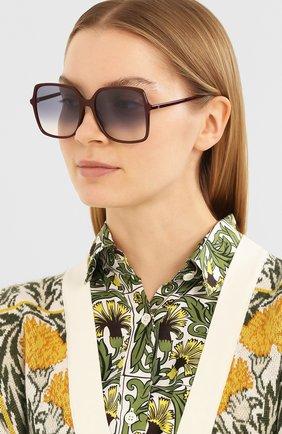 Женские солнцезащитные очки GUCCI бордового цвета, арт. GG0544 003   Фото 2 (Тип очков: С/з; Очки форма: Квадратные; Оптика Гендер: оптика-женское)