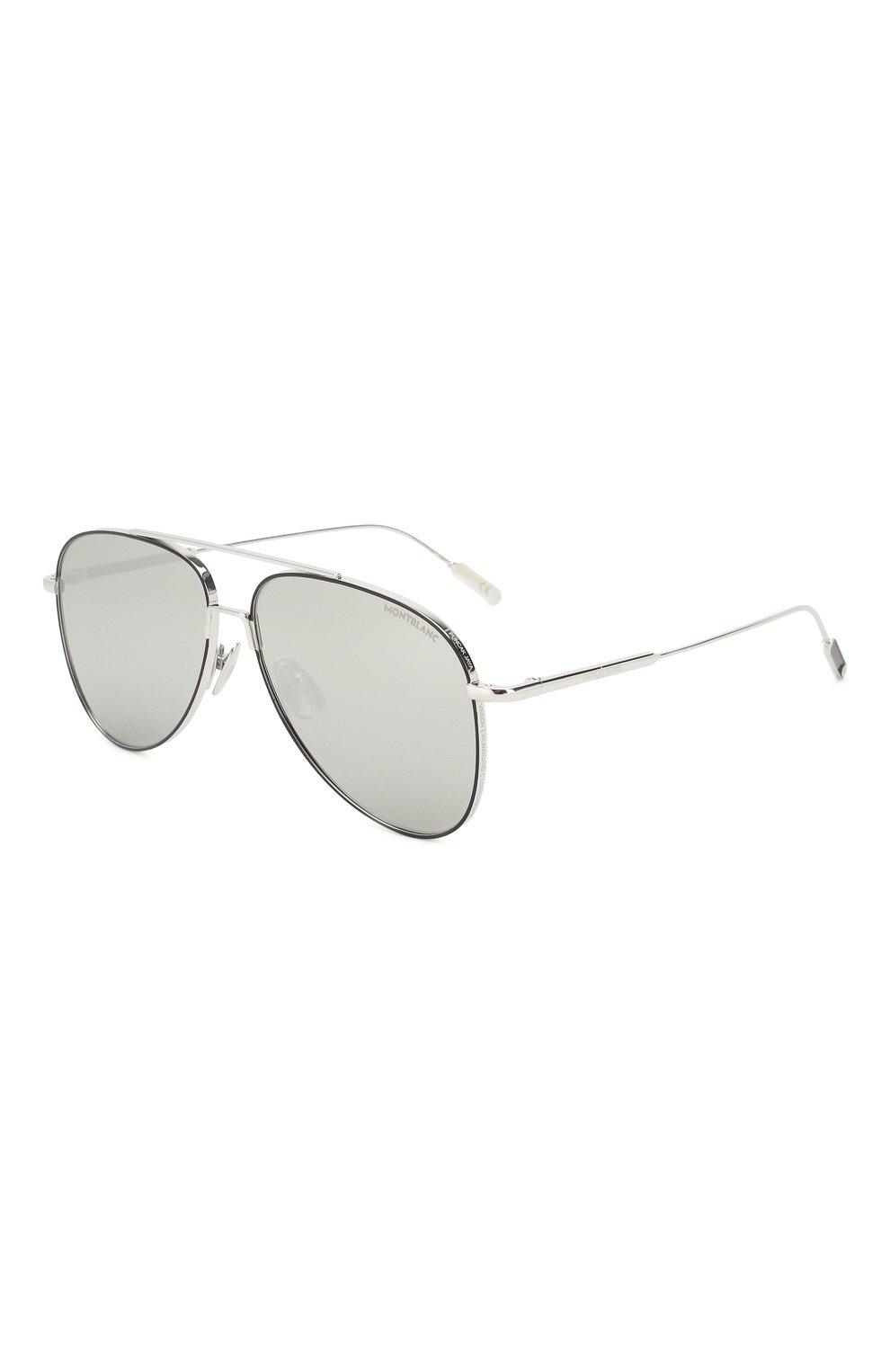 Женские солнцезащитные очки MONTBLANC серебряного цвета, арт. MB0078 002   Фото 1