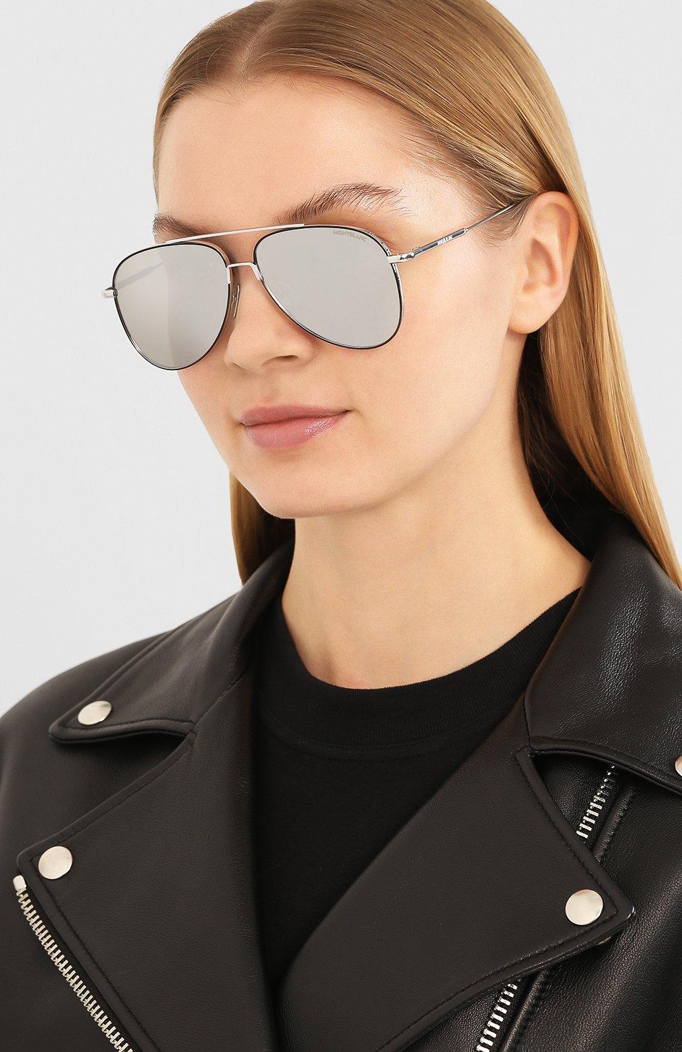 Женские солнцезащитные очки MONTBLANC серебряного цвета, арт. MB0078 002   Фото 2