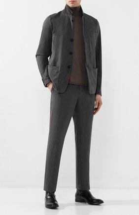Мужской брюки из смеси льна и хлопка TRANSIT темно-серого цвета, арт. CFUTRKD130   Фото 2
