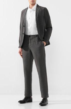 Мужская рубашка из смеси льна и хлопка TRANSIT белого цвета, арт. CFUTRKT293   Фото 2