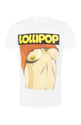 Мужская хлопковая футболка BISIBIGLIO белого цвета, арт. L0LLIP0P CHUPA SEN0   Фото 1