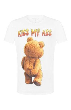 Мужская хлопковая футболка BISIBIGLIO белого цвета, арт. TED MY ASS   Фото 1