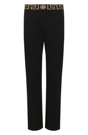 Мужские хлопковые домашние брюки VERSACE черного цвета, арт. AUU01014/A232741   Фото 1