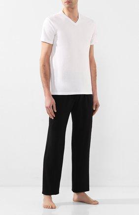 Мужские хлопковые домашние брюки VERSACE черного цвета, арт. AUU01014/A232741   Фото 2