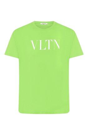 Мужская хлопковая футболка VALENTINO зеленого цвета, арт. TV0MG10V3LE | Фото 1