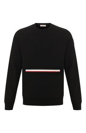 Мужской хлопковый свитшот MONCLER черного цвета, арт. F1-091-8G725-00-V8130   Фото 1