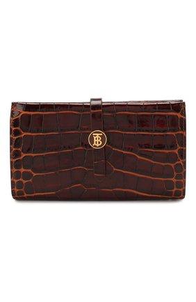 Женские кожаный кошелек BURBERRY коричневого цвета, арт. 8025288 | Фото 1