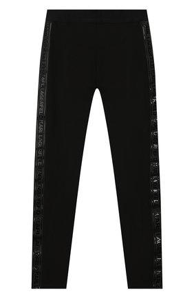 Детского брюки KARL LAGERFELD KIDS черного цвета, арт. Z14124 | Фото 1
