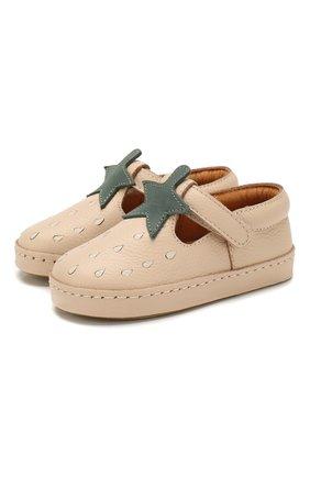 Детские кожаные слипоны DONSJE AMSTERDAM бежевого цвета, арт. 0902-ST037-CL006 | Фото 1