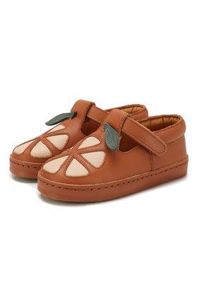 Детские кожаные слипоны DONSJE AMSTERDAM коричневого цвета, арт. 0902-ST064-CL001 | Фото 1