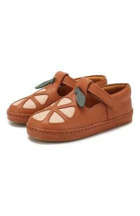 Детские кожаные слипоны DONSJE AMSTERDAM коричневого цвета, арт. 0903-ST064-CL001 | Фото 1
