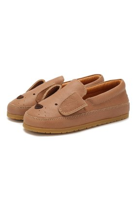 Детские кожаные слипоны DONSJE AMSTERDAM коричневого цвета, арт. 0908-ST030-CL018 | Фото 1