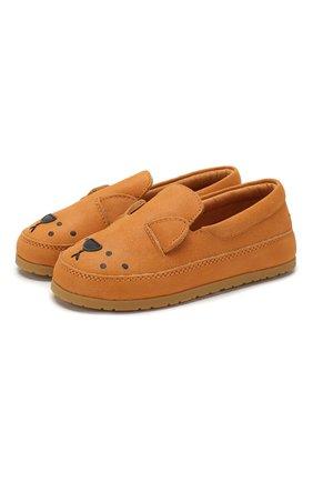 Детские кожаные слипоны DONSJE AMSTERDAM оранжевого цвета, арт. 0908-ST006-CL005 | Фото 1